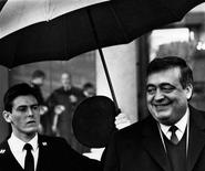 <p>French Social Affairs and Employment Minister Philippe Seguin (R) leaves the Elysee Palace in Paris in this November 25, 1987 file picture. Philippe Seguin, head of France's top public finance watchdog and a trenchant Gaullist critic of closer European Union integration, has died at the age of 66, authorities said on Wednesday. Picture taken November 25, 1987. REUTERS/Jean-Claude Delmas/Files</p>