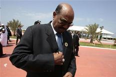 <p>Sudan President Omar al-Bashir arrives to attend the closing of the special summit on regional conflicts in Tripoli August 31, 2009. REUTERS/Zohra Bensemra</p>