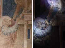 <p>A combination picture shows an original Giotto painting (L) and the same artwork under ultra-violet rays, exposing greater details, in the Peruzzi Chapel at the Santa Croce Church REUTERS/Alessandro Bianchi</p>