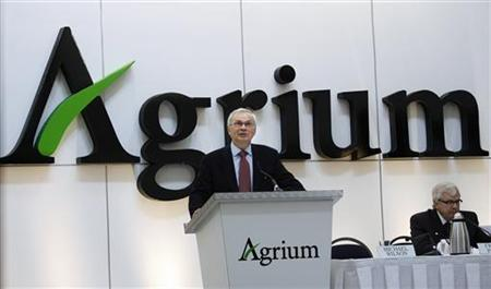 Michael Wilson, president and chief executive officer of Agrium, addresses staff and shareholders at the company's annual general meeting in Calgary in this May 7, 2008 file photo. REUTERS/Todd Korol