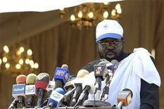 <p>First Vice President and Chairman of the Sudan People's Liberation Movement (SPLM) Salva Kiir speaks during the 4th anniversary celebration of the signing of the Comprehensive Peace Agreement, ending more than two decades of civil war in the southern town of Malakal January 9, 2009. REUTERS/Tim McKulka/UNMIS/Handout</p>