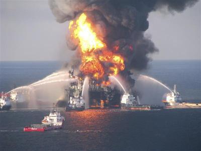 Oil rig sinks