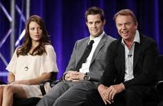 """<p>Cast members Lauren German, Geoff Stults and Sam Neill (L-R) of the series """"Happy Town"""" participate in a panel discussion in Pasadena, January 12, 2010. REUTERS/Danny Moloshok</p>"""