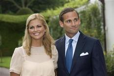<p>File photo of Princess Madeleine of Sweden and her fiance Jonas Bergstrom during a news conference following their engagement at the Soliden palace on the island of Oland August 11, 2009. REUTERS/Fredrik Sandberg /Scanpix/Files</p>