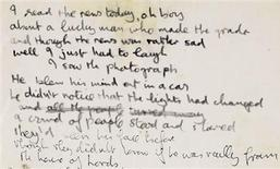 """<p>John Lennon's handwritten lyrics to """"A Day in the Life"""". REUTERS/Sotheby's/Handout</p>"""