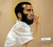<p>In this photo of a sketch by courtroom artist Janet Hamlin, Canadian defendant Omar Khadr attends a hearing in the courthouse for the U.S. military war crimes commission at the Camp Justice compound on Guantanamo Bay U.S. Naval Base in Cuba, April 28, 2010. REUTERS/Janet Hamlin/Pool</p>