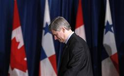 <p>Canada's Prime Minister Stephen Harper arrives at a signing ceremony for the Canada-Panama Free Trade Agreement in Ottawa May 14, 2010. REUTERS/Chris Wattie</p>