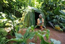 <p>Garden co-designer, Jeanne Noua, an indigenous woman from Cameroon, squats in the Green & Black's Rainforest Garden at the Chelsea Flower Show in London May 24, 2010. REUTERS/Suzanne Plunkett</p>
