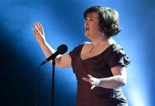"""<p>Scottish singer Susan Boyle sings """"I Dreamed a Dream"""" on the Danish relief show """"The Denmark Collection"""" to raise money for women in Africa and for the victims of the Haiti earthquake at the Tivoli Concert Hall in Copenhagen January 30, 2010. REUTERS/Casper Christoffersen/Scanpix</p>"""
