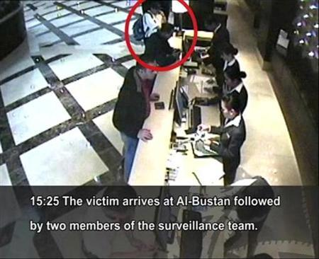 Hamas militant, Mahmoud al-Mabhouh (ringed), is shown arriving at his hotel in this CCTV handout from Dubai police February 15, 2010. REUTERS/Dubai Police/Handout