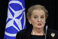 <p>Madeleine Albright, former U.S. Secretary of State and head of an international panel that is working to update NATO's mission statement, addresses a news conference after launching her report to the North Atlantic Council (NAC) at NATO headquarters in Brussels May 17, 2010. REUTERS/Thierry Roge</p>