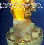 <p>Утечка нефти в водах Мексиканского залива, 23 июня 2010 года. Нефтяная компания ВР может завершить бурение разгрузочных скважин, с помощью которых она надеется остановить утечку нефти в Мексиканском заливе, на две недели раньше срока - к середине июля, а не в начале августа, как прогнозировала компания, сообщила газета Sunday Times со ссылкой на источники, знакомые с ситуацией. REUTERS/BP/Handout</p>