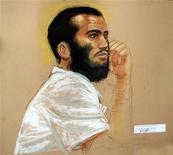 <p>In this photo of a sketch by courtroom artist Janet Hamlin, Canadian defendant Omar Khadr attends a hearing in the courthouse for the U.S. military war crimes commission at the Camp Justice compound on Guantanamo Bay U.S. REUTERS/Janet Hamlin/Pool</p>