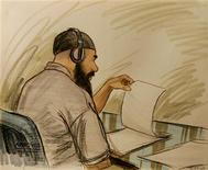 <p>This courtroom illustration shows Ibrahim Ahmed Mahmoud al Qosi of Sudan appearing before a military commission August 27, 2004 in Guantanamo, Cuba. REUTERS/file</p>
