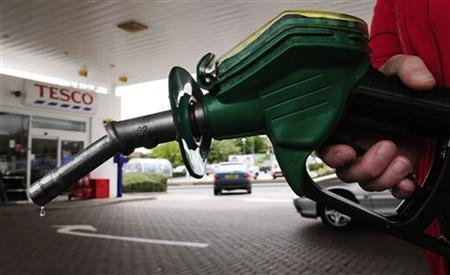 A petrol pump is seen at Tesco's in Leeds, northern England, June 25, 2010. REUTERS/Nigel Roddis