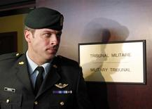 <p>Captain Robert Semrau leaves his military tribunal in Gatineau, Quebec July 19, 2010. REUTERS/Chris Wattie</p>