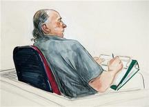 <p>Serial killer Robert Pickton appears in an artist's illustration at BC Supreme Court in New Westminster, British Columbia, January 31, 2006. REUTERS/Felicity Don</p>