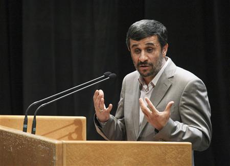 EDITORS' NOTE: Reuters and other foreign media are subject to Iranian restrictions on their ability to film or take pictures in Tehran. Iranian President Mahmoud Ahmadinejad gestures while speaking at a ceremony to mark the National Journalist Day at the Iran's state television's conference centre in Tehran August 7, 2010. REUTERS/ISNA/Mehdi Ghasemi