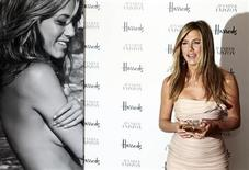<p>U.S. actress Jennifer Aniston poses with her fragrance 'Jennifer Aniston' during its launch at Harrods in London July 21, 2010. REUTERS/Stefan Wermuth</p>