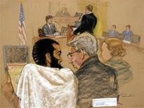 <p>In this courtroom sketch, Canadian defendant Omar Khadr (L) attends the first day of his hearing in the courthouse for the U.S. military war crimes commission at the Camp Justice compound on Guantanamo Bay U.S. Naval Base in Cuba August 9, 2010. REUTERS/Janet Hamlin/Pool</p>