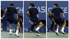<p>A combination photo shows Roger Federer of Switzerland returning a winning shot between his legs while playing against Brian Dabul of Argentina during their opening night match at the U.S. Open tennis tournament in New York, August 30, 2010. REUTERS/Lucas Jackson</p>