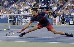 <p>Novak Djokovic of Serbia stretches out to return a backhand to Philipp Petzschner of Germany during the U.S. Open tennis tournament in New York, September 2, 2010. REUTERS/Ray Stubblebine</p>