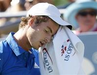 <p>Andy Murray of Britain wipes his face during his match against Stanislas Wawrinka of Switzerland during the U.S. Open tennis tournament in New York, September 5, 2010. REUTERS/Kena Betancur</p>