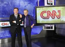 <p>British television host Piers Morgan (L) and veteran CNN talk show host Larry King (R) are shown in this undated publicity photograph. REUTERS/CNN/Handout</p>