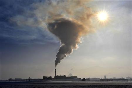 Smoke billows from a chimney of the Termika factory, which produces glass wool, in Skojfa Loka January 21, 2010. REUTERS/Srdjan Zivulovic