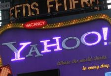 <p>Imagen de archivo de una publicidad de Yahoo! en Nueva York. Ene 25 2010 La presidenta ejecutiva de Yahoo Inc, Carol Bartz, dijo que la empresa de búsqueda en internet no tiene planes para vender sus acciones en Alibaba Group, pese a los acercamientos de la firma china de comercio electrónico para comprar esa participación. REUTERS/Brendan McDermid/ARCHIVO</p>