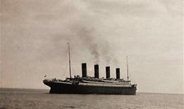 <p>The RMS Titanic in what is thought to be the last known image of the ship as she sets sail from Queenstown for New York. REUTERS/Christie's</p>