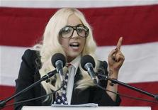 <p>Singer Lady Gaga speaks at a rally in Portland, Maine, September 20, 2010 urging members of the Senate to repeal the military rule banning openly gay people from serving in the armed forces. REUTERS/Joel Page</p>