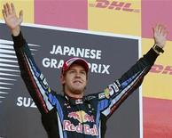 <p>Sebastian Vettel venceu o GP do Japão de Fórmula 1, neste domingo, e liderou a dobradinha da Red Bull com Mark Webber em segundo, que ampliou a liderança no campeonato para 14 pontos com apenas três corridas restando para o final da temporada. REUTERS/Vivek Prakash</p>
