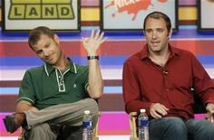 "<p>The creators and producers of Comedy Central cable channel program ""South Park"", Matt Stone (L) and Trey Parker, take part in a panel discussion at the Cable Television Critics Association press tour in Pasadena, California, July 13, 2006. REUTERS/Fred Prouser</p>"