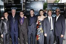<p>Actors (L-R) Chin Han, Michael Caine, Gary Oldman, Christian Bale, Maggie Gyllenhaal, Aaron Eckhart and Morgan Freeman pose for photographers during the premiere of the film The Dark Knight in New York, July 14, 2008. REUTERS/Keith Bedford</p>