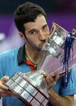 <p>O pouco conhecido Mikhail Kukushkin, do Cazaquistão, disputou sua primeira final de ATP neste domingo. 31/10/2010 REUTERS/Alexander Demianchuk</p>