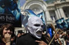 "<p>A Mexican dressed as Voldemort, a character in the Harry Potter books and movies, gathers with other fans in front of Bellas Artes Palace to promote the launch of the ""Harry Potter and the Deathly Hallows"" movie on November 18 in Mexico City, October 30, 2010. REUTERS/Eliana Aponte</p>"