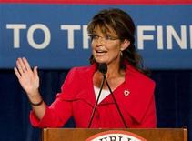 <p>Former Alaska governor Sarah Palin speaks during the Republican 2010 Victory Fundraising Rally in Orlando, Florida October 23, 2010. REUTERS/Scott Audette</p>