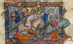 <p>This undated handout photos shows King Arthur fighting the saxons. REUTERS/Sotheby's/Handout</p>