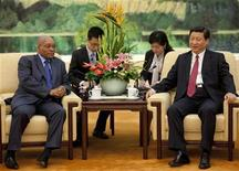 <p>China's Vice President Xi Jinping meets South Africa's President Jacob Zuma (L) at the Great Hall of the People in Beijing, August 25, 2010. REUTERS/Adrian Bradshaw/Pool</p>