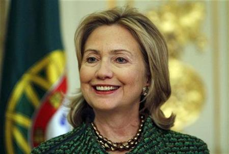U.S. Secretary of State Hillary Clinton smiles during a meeting at Necessidades Palace in Lisbon November 19, 2010. REUTERS/Hugo Correia