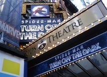 """<p>The marquee for the Broadway show """"Spider-Man: Turn Off The Dark"""" is seen outside the Foxwoods Theatre in New York December 21, 2010. REUTERS/Shannon Stapleton</p>"""