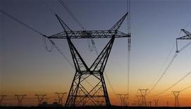 <p>Electricity pylons carry power from Cape Town's Koeberg nuclear power plant July 17, 2009. REUTERS/Mike Hutchings</p>