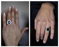 <p>A la izquierda, una réplica china del anillo de compromiso de Katte Middleton, novia del príncipe Guillermo de Inglaterra. A la derecha, el modelo original lucido por la futura princesa. ene 12 2011. Puede que Reino Unido esté en el otro lado del mundo, pero los fabricantes chinos están obteniendo ganancias con el anillo de compromiso real británico mientras fabrican decenas de miles de réplicas. REUTERS/Carlos Barria/Paul Hackett</p>