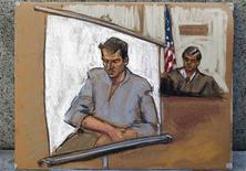 <p>Portuguese male model Renato Seabra is seen in a courtroom sketch made during a remote arraignment from Bellevue Hospital, where he is being held for the murder of Portuguese journalist Carlos Castro, in New York January 14, 2011. REUTERS/Jane Rosenberg/Handout</p>
