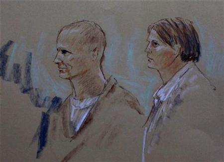 An artist's depiction shows Jared Lee Loughner (L), the Arizona man accused of shooting 20 people while trying to assassinate U.S. Representative Gabrielle Giffords over the weekend, and his attorney public defender Judy Clarke during a court appearance in Phoenix, Arizona January 10, 2011. REUTERS/Joan Andrew