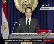 <p>Кадр из видеообращения президента Египта Хосни Мубарака к нации , 10 февраля 2010 года. Президент Египта Хосни Мубарак объявил поздно вечером в четверг, что передаст свои полномочия вице-президенту Омару Сулейману, но останется на своем посту, вызвав бурю негодования оппозиции, ждавшей его отставки. REUTERS/Egyptian State TV via Reuters TV</p>
