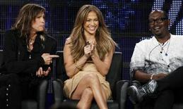 """<p>Judges Steven Tyler (L), Jennifer Lopez (C) and Randy Jackson take part in a panel discussion for the show """"American Idol"""" at the Fox Broadcasting Company Winter Press Tour 2011 for the Television Critics Association in Pasadena, California January 11, 2011. REUTERS/Lucy Nicholson</p>"""