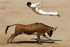 <p>A 'recortador' jumps over a wild cow during a show in Pamplona July 8, 2006. REUTERS/Eloy Alonso</p>