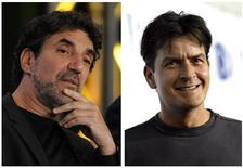 """<p>Produtor de """"Two and a Half Men"""", Chuck Lorre (esquerda), e o ator Charlie Sheen (direita). Sheen pediu à Warner indenização de 100 milhões de dólares por sua demissão do seriado. REUTERS/Arquivo</p>"""